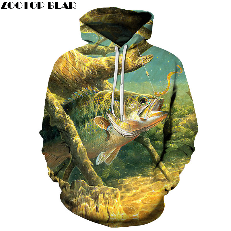 Anime Hoodies fish 3D Hoodie Printed Hoody Men Sweatshirt Pullover Tracksuit Brand Coat Streatwear Jacket Drop Ship ZOOTOP BEAR