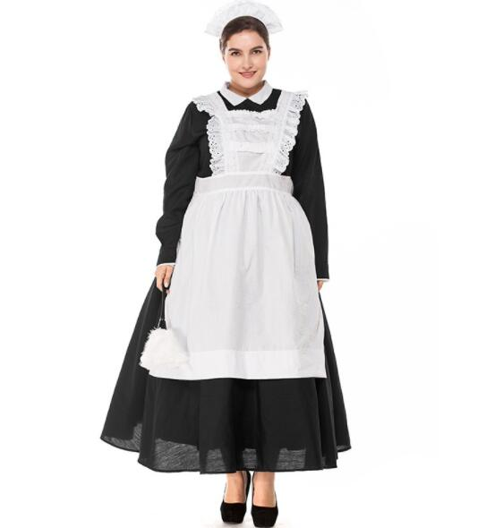 Plus Size Woman Classic Black White Apron Maid Sexy Dress Women Maidservant Costume Halloween Purim Cosplay Costume A061