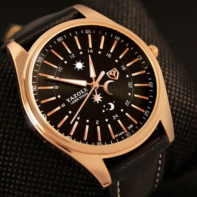 Top Brand YAZOLE Luxury Rose Gold Watch Men Watch Fashion Business Watch Waterproof Luminous Quartz Watches