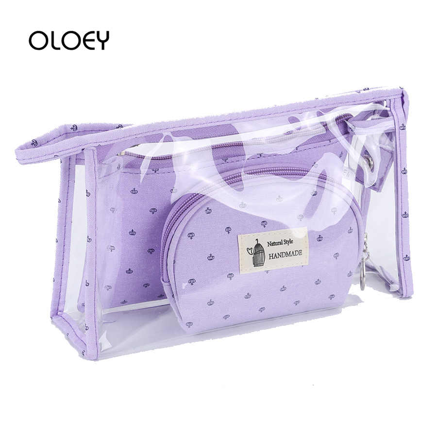 Clear Transparent PVC Women Cosmetic Cases Set Print Travel Multifunction Cosmetic Bag Zipper Makeup Bags Organizer Bath Wash Ba