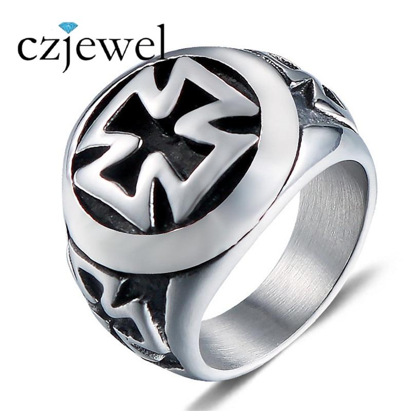 Mens Rock Biker Cross Ring Knights Templars Ring Men Stainless Steel Unique Jewelry Exquisite Men Biker Ring