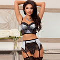Hot Selling Erotic Lingerie Sexy Costumes Lingerie Strip Steel Padding Bra Suit Lace Three Point Garters Suit Plus Size 5XL