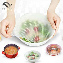 TTLIFE 4Pcs Reusable Silicone Wrap Seal Food Fresh Keeping Lid Cover Stretch Vacuum Bowl Home Kitchen Tools