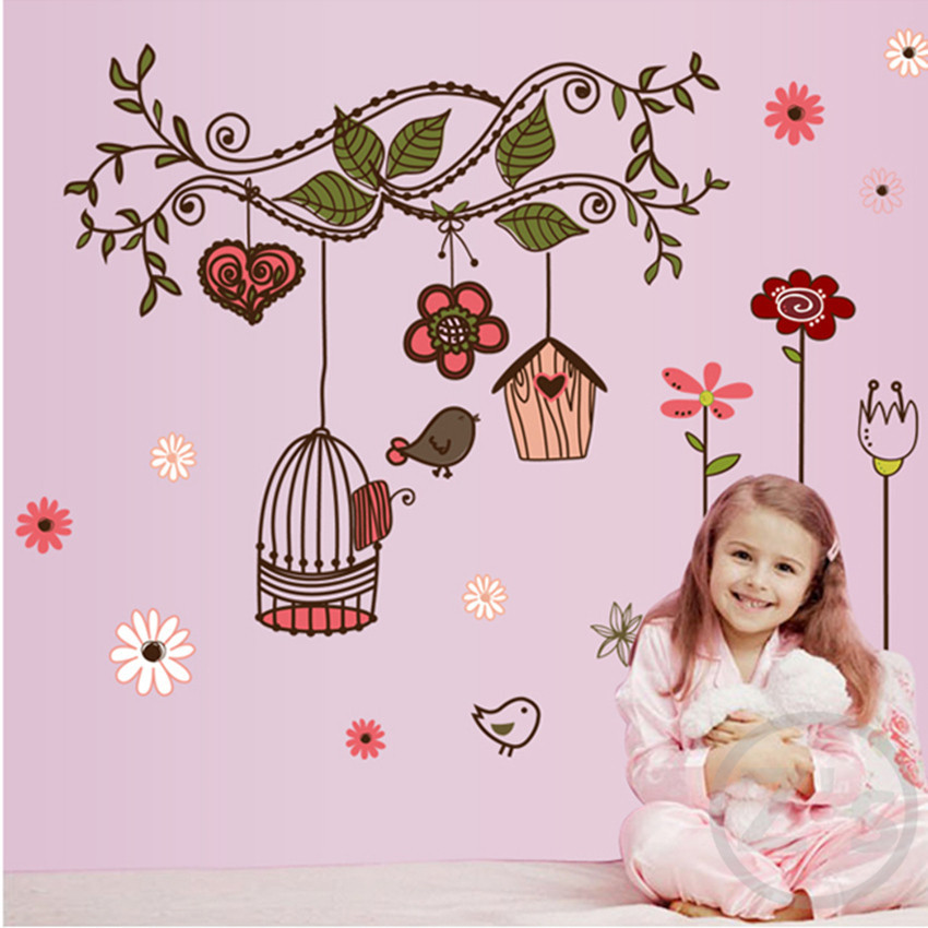 Zs Sticker Birdcage Wall Sticker Children Home Decor Cartoon Wall Decal for girls Room Decal Nursery Baby
