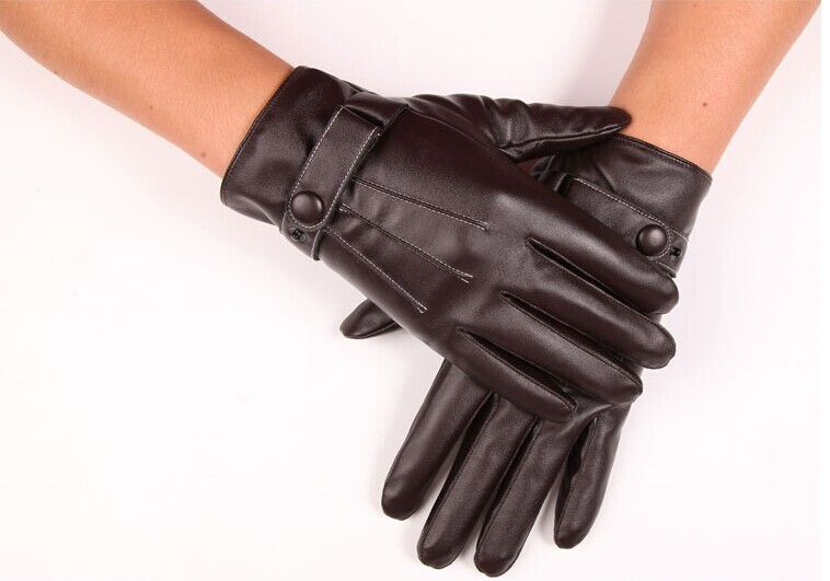 ФОТО Imitation sheep leather gloves Korean men full finger hand warm wind riding