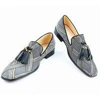 2018 мужские лоферы Горячее предложение Мужская обувь низкий Топ кисточкой Украшенные слипоны Smokling обувь квадратный носок Для мужчин Туфли б