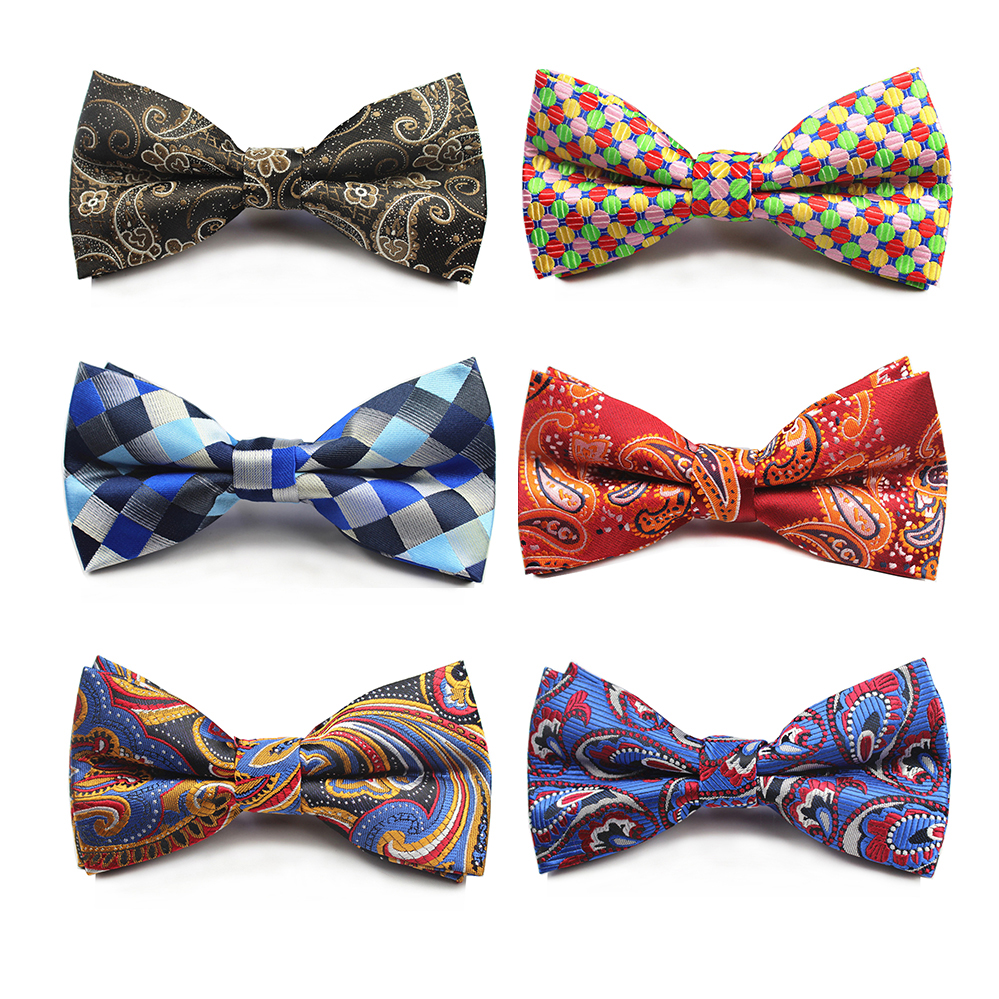 RBOCOTT Fashion Brown And Gold Paisley Bow Ties Men's Plaid Bowties White And Black Striped Bow Tie For Men Suit Accessories