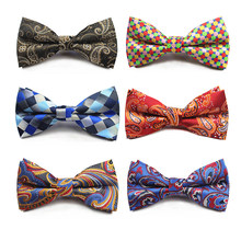 RBOCOTT Fashion Brown And Gold Paisley Bow Ties Men's Plaid Bowties White And Black Striped Bow Tie For Men Suit Accessories(China)