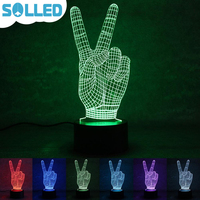 SOLLED 3D Creative Panel Acrylic Gesture V Shap USB Charging Color Change LED Night Light Halloween Lamp include Base TH
