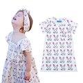 Coelho head padrão vestido da menina de varejo 2016 marca a roupa do bebê dos desenhos animados coelho crianças vestidos para meninas roupas vestes fillette