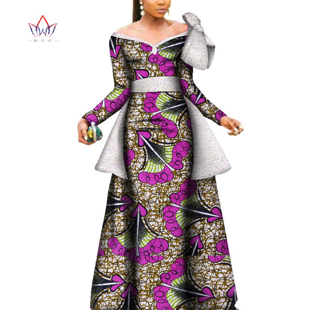 2019 African Wax Print Dashiki Party Dresses for Women Bazin Riche big bow  Dress Plus Size African Women Clothing WY3687 5947ba14d9b5