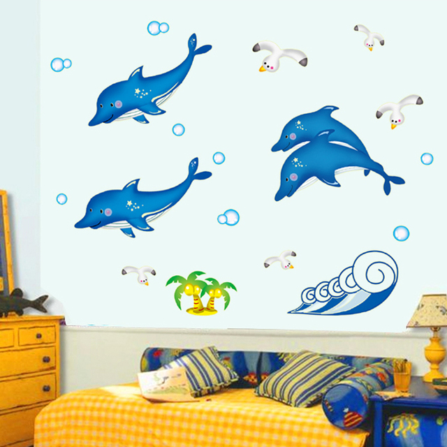 Luminous cartoon dolphins wall stickers kid 39 s room wall bathroom tiles waterproof decor glow in - Leuchtende wandtattoos ...