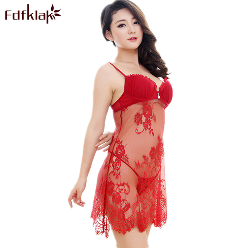Fdfklak Women's Erotic Lingerie Summer Sexy Women Nightwear Spaghetti Strap   Nightgowns     Sleepshirts     Nightgown   Satin Silk Q685