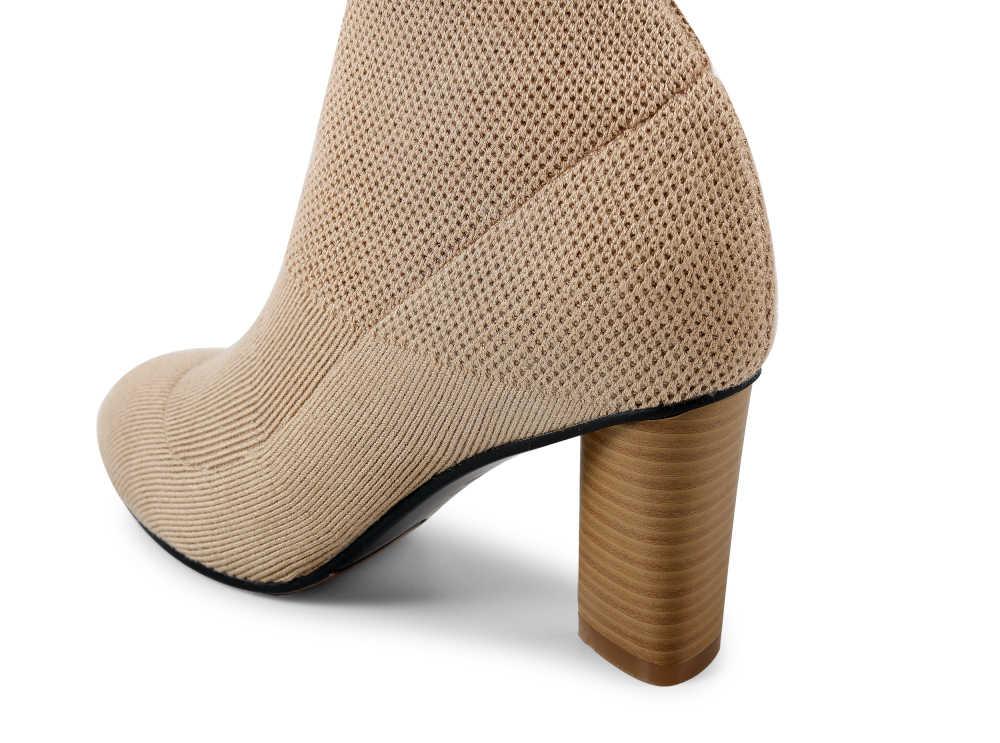 Yeni stil Sonbahar Bahar Streç Kumaş Kadın Çorap Moda Çorap çizmeler Siyah Orta buzağı kısa çizmeler Yüksek Topuk Ayakkabı artı Boyutu