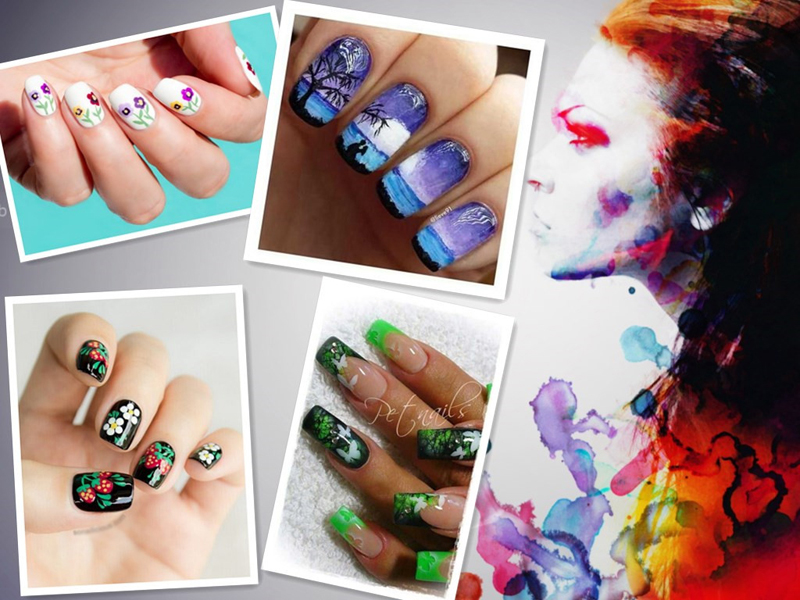 Colorful Airbrush Nails Paint Festooning - Nail Art Ideas - morihati.com