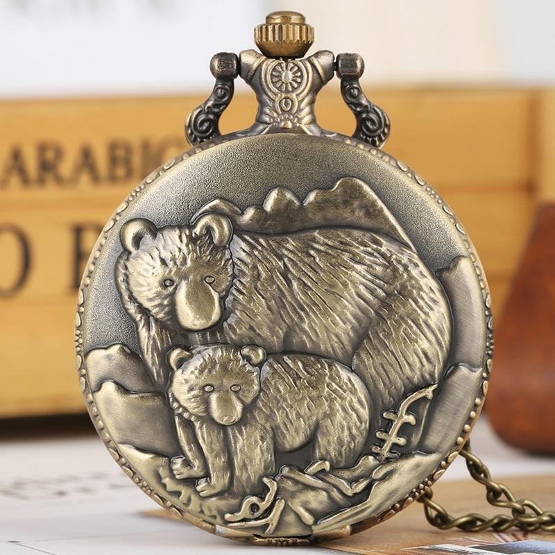 Retro Bronze Polar Bear Figure Necklace Quartz Pocket Watch Bear Baby Pattern Chain Pendant Gifts For Men Women Jewelry Reloj