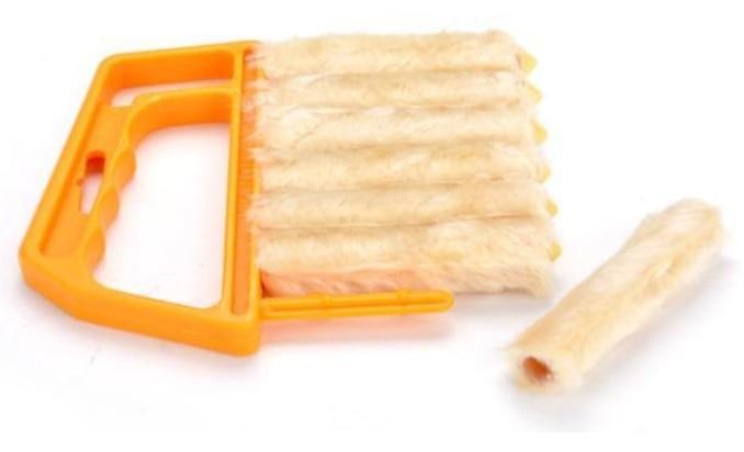 1x New Microfiber Orange Venetian Blind Blade Cleaner Window Clean Brush Household Cleaning Tools 13x16cm F2034