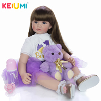 Hot Sale 24'' 60 cm Babies Reborn Girl Doll Soft Silicone Cloth Body Realistic Baby Toy Toddler Birthday Gifts Bedtime Playmate