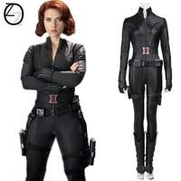 The Avengers 1 Black Widow Natasha Romanoff Cosplay Costume Movie Clothing Adult Sexy Women Dress Superhero Outfit Jumpsuit