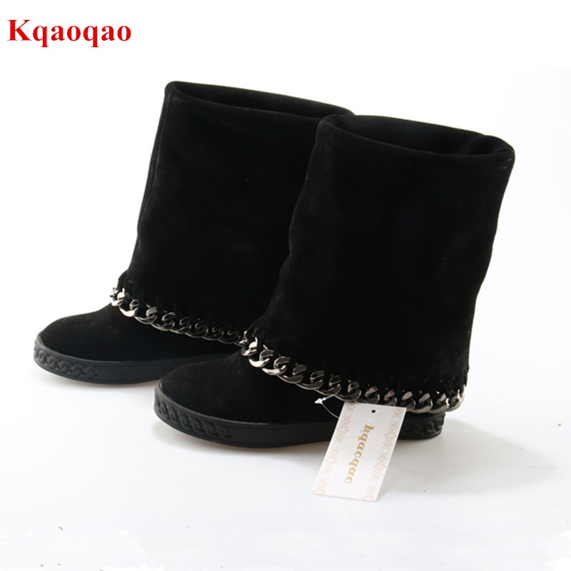 где купить New Height Increasing Botines Mujer Black Suede Leather Platform Chain Women Boots Wedges Slip-On Botas Mujer Women Shoes Woman по лучшей цене