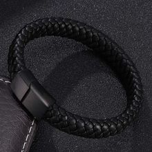 Punk Men Bracelet Bangles Black/Brown Leather Bracelet Male Stainless Steel Magnetic Clasp Fashion Wristband gift BB0185 classic men woman genuine leather bracelet tainless steel charm bracelets for male gift magnetic clasp punk wristband