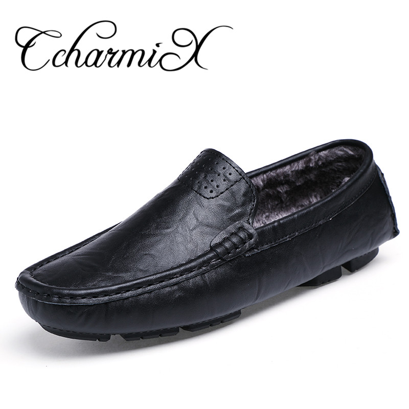 Plus Size 38-48 Slip on Genuine Leather Handmade Mens Loafers Men Flats Winter Male Office Shoe Loafers Moccasins Zapatos Hombre genuine leather men loafers large size 38 47 slip on handmade mens boat shoes comfortable spring autumn formal male flats