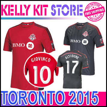 super popular f0d39 b3979 US $17.0 |Soccer Jerseys Toronto FC 2015 BRADLEY GIOVINCO ALTIDORE 15 16  Toronto Home Red Away Black football shirt in Soccer Jerseys Toronto FC  2015 ...