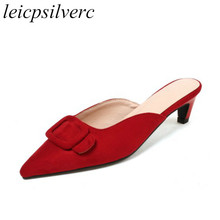 купить Women Slippers Mules Shoes Summer High Heel Sandals 2018 Spring Outside Casual Slides Pointed Toe Sexy Fashion Black Red Pink по цене 1400.44 рублей