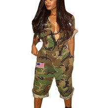 2018 Autumn Casual Women Camouflage Jumpsuit Turn-Down Collar Overalls Short Sleeve Loose Romper