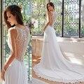 Повседневная шифон пляж свадебное платье 2017 кружева назад длинный хвост свадебные платья невесты платья для свадеб C35