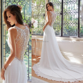 Casual chiffon beach wedding dress 2017 lace back long tail wedding gowns bride dresses for weddings C35