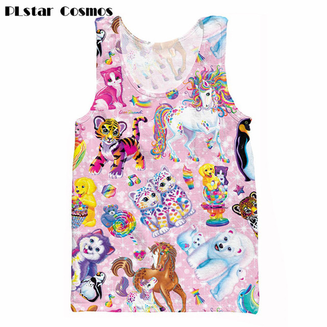 Lisa Frank Charakter Collage Druck 3d Tank Tops Sommer Weste Manner Frauen Cartoon Shirts