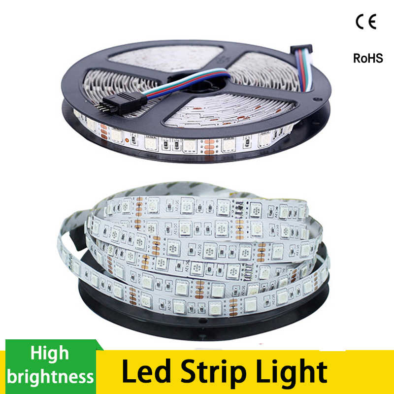 5M RGB LED Strip 3528 5050 Tahan Air 12V 60 LED/M Fleksibel Lampu Dekorasi Rumah Ribbon Tape luz Monokrom