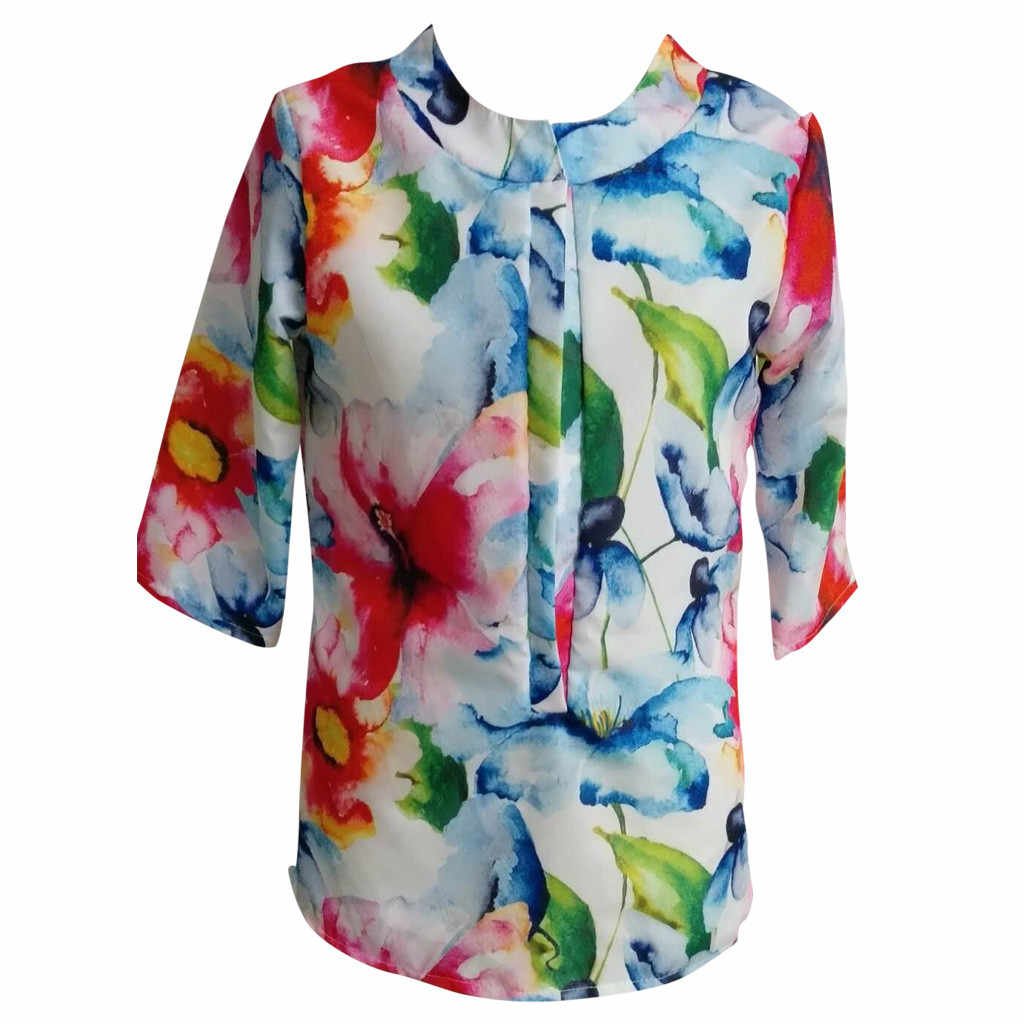longSleeve women tops 2019 summer Printed t-shirts women fashion V-neck summer tops for women vestidos de verano riverdale#P7