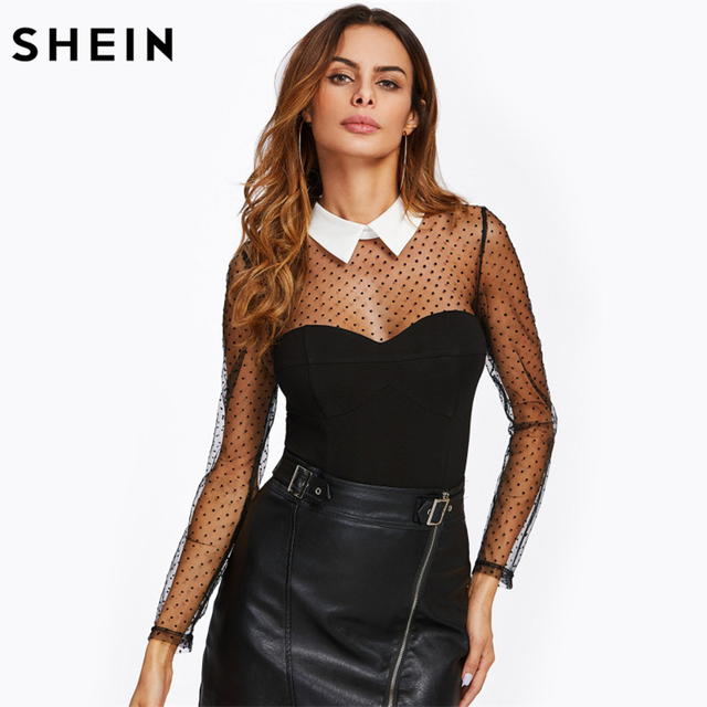 5e6466e2c SHEIN Polka Dot Mesh Yoke and Sleeve Contrast Collar Bodysuit Black ...