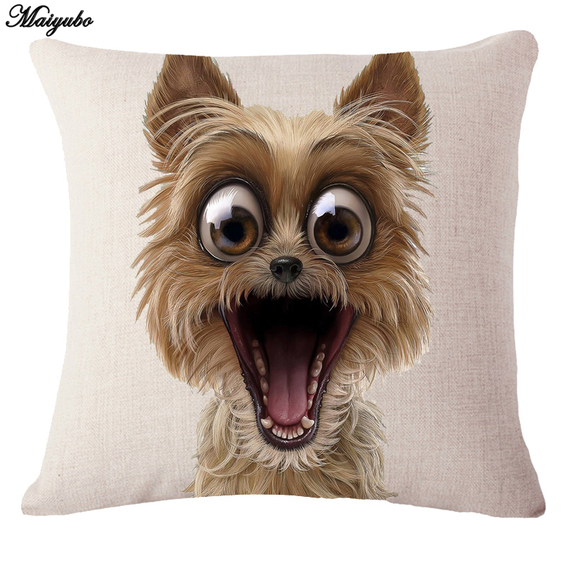 Maiyubo 2018 Funny Doggie Pillow Cover Cute Little Puppy Cusion Covers Floor Sitting Cover Cushion Kids Bedroom Seat Decor PC610