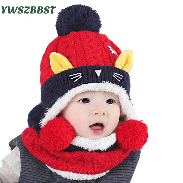 9c472e66c03 Autumn Winter Hats Toddler Kids Boys Girls Wool Knitted Cap Scarf Baby Hat  Animal Print Crochet Child Hat Warm Infant Beanie Cap