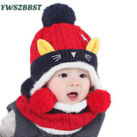 Cute Baby Winter Hat With Scarf Warm Infant Beanie Cap For Children Boys Girls Animal Cat