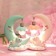 Adornos de dibujos animados LED luz de noche unicornio Luna luz niños habitación de bebé lámparas con pantalla niñas regalos lindos