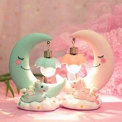 Led ornamentos dos desenhos animados luz da noite unicórnio luz da lua crianças bebê sala de exibição lâmpadas meninas presentes bonitos