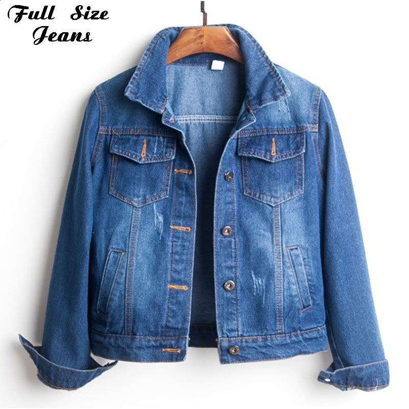 7a13c7277fe05 Plus Size Ripped Hole Cropped Jean Jacket 4Xl 5Xl Light Blue Bomber Short  Denim Jackets Jaqueta Long Sleeve Casual Jeans Coat