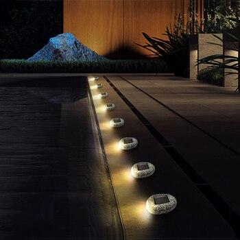 Außerhalb Solar Powered Pfad Lichter LED Solar Licht Stein Form Outdoor Wasserdicht Garten Landschaft Beleuchtung Hof Einfahrt Rasen