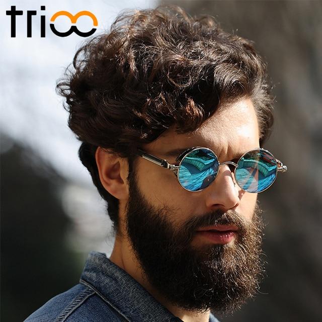 4161a34844 TRIOO Polarized Sun Glasses For Men Driving Steampunk Style Mens Sunglasses  Retro Round Vintage Blue Mirror