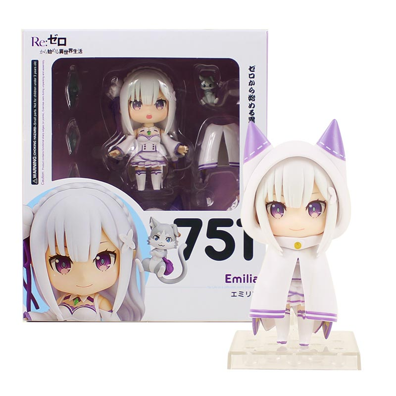 10cm Anime Re:Life In A Different World From Zero Emilia Figure Nendoroid 751 Q Version PVC Action Figure Collection Model Toy