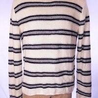 POLO RALPH LAUREN мужские полосатый свитер крем синий шелк SZ XL СЗТ $185