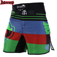 ROLLHO Men's Muay Thai Boxing Shorts Printing MMA Shorts Fitness Fight Grappling Short Kick Gel Thai Shorts MMA Boxing