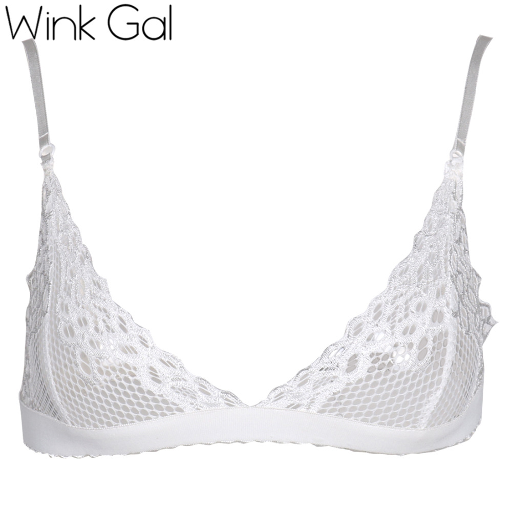 c66e85ef0ab72 Wink Gal Women Sexy Perspective Sheer Lace Lingerie Bra Top Underwear See  through Meshy Sexy Hot Floral Lace Bralette Bras 1658-in Bras from  Underwear ...