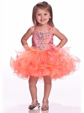 Unique Fashion Ball Gown Flower Girl Dresses With V-Bodice Jeweled Short Pageant Dress For Girls  Zipper unique fashion ball gown flower girl dresses with spaghetti jeweled ruffles v bodice short pageant dress for girls zipper