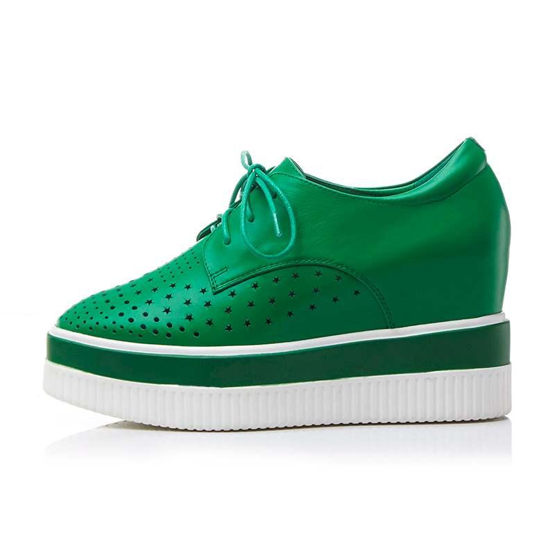 Mujeres Cuero L2f9 Nueva Primavera Oxford Vaca Up Los Hueco Zapatos Verde Cuñas Lace blanco Aumentó Square Gruesas Toe De 2018 Bombas Llegada Inferiores StwRxqxP