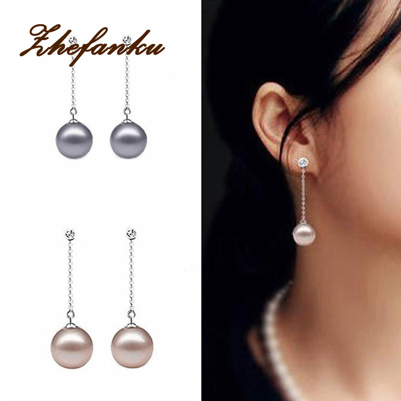 Fancy 3 Colors Coffe Grey White Temperament Simulated Pearl  Tassel Round Shaped 1 Pair Woman Earrings Charming Jewelry EAR-0373